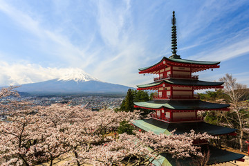 Chureito Pagoda or Red pagoda with Mt. Fuji as the background.