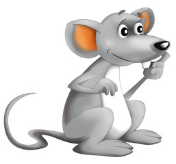 Cartoon happy mouse - isolated - illustration for children