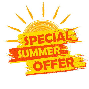 special summer offer with sun sign, yellow and orange drawn labe