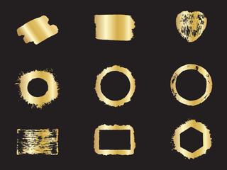 Gold Frames Calligraphy on black Background. Handmade frames.