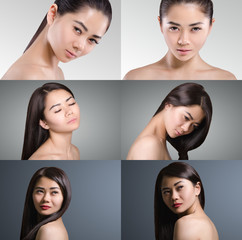 Beautiful Asian Woman Collage. Long dark hair. Natural. Beauty.