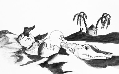 Caricature, pencil drawing. Chicken is among the crocodiles. allegory -parents do not choose