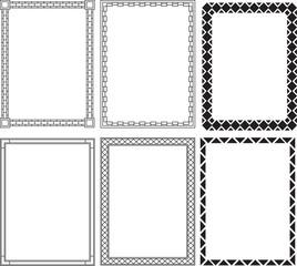 Set of six square frames.