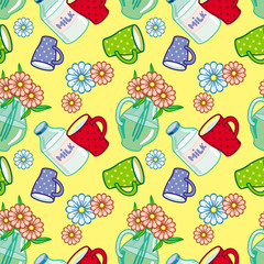 Seamless pattern with milk jugs. Vector clip art.