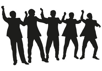 Group of Celebrating People or Successful Business Team Vector Silhouette
