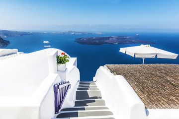 White architecture with sea view in Santorini, Greece