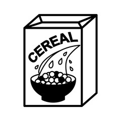 cereal box and bowl simple illustration