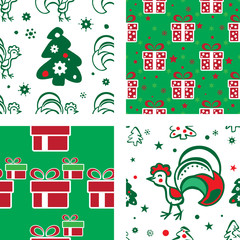 Christmas background with a roosters and gifts
