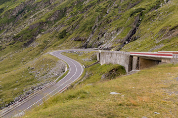 Beautiful mountain road, Transfagarasan highway in a sunny summer morning