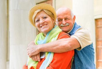 Happy senior couple in love enjoying romantic vacation in Italy