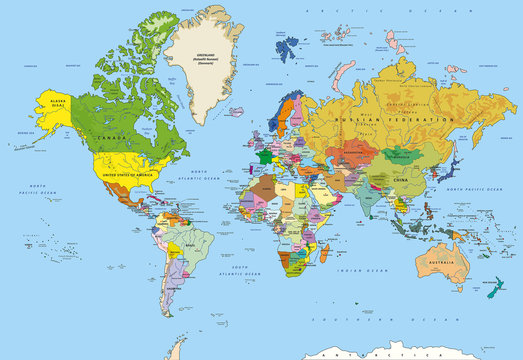 Detailed world map with capitals