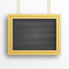 Chalkboard background with golden frame isolated on the white wall. Vector illustration