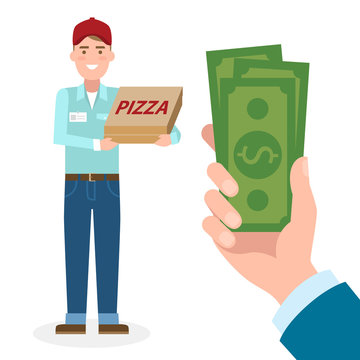 Handsome male cartoon character. Pizza man gets money. Hand holding dollars for pizza. Happy smiling pizza boy. Fast delivery.