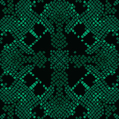Reptile skin green vector texture. Emerald green tone colors snake pattern ornament for textile fabric. Artificial reptile leather pattern.