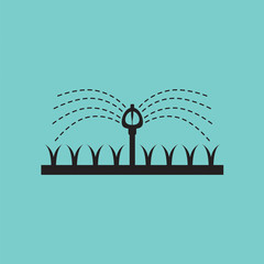 Automatic Sprinklers Watering Vector Illustration.