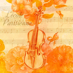 Vintage style collage, golden toned, with old violin drawing