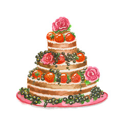 Isolated beautiful watercolor cake with blackberries, srawberries and roses. Birthday present or holiday tasty meal.