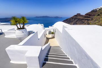 White architecture and view, Santorini, Greece
