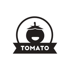 black vector icon on white background tomato emblem