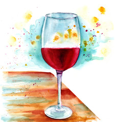 Watercolor painting of glass of wine on wooden table