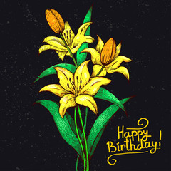 Yellow lilies on a gray background