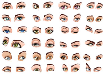 Female eyes showing different Expressions