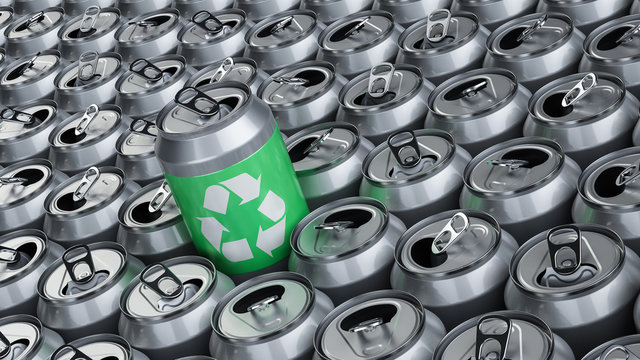 Soda cans recycling, aluminum recycling