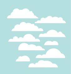 Set of blue sky, clouds. Cloud icon, cloud shape. Set of differe
