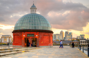The Greenwich Foot Tunnel crosses beneath the River Thames in East London, linking Greenwich in the south with the Isle of Dogs to the north..
