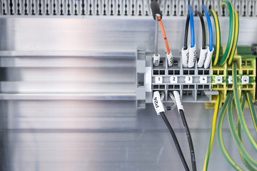 The panel connection of the electric wire.