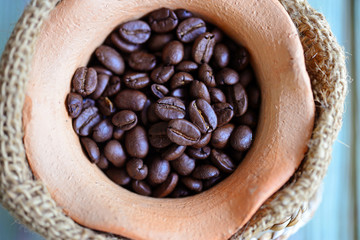 Closeup of roasted coffee beans. (Selective Focus)