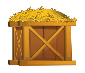 Cartoon wooden crate with hay - isolated - illustration for children