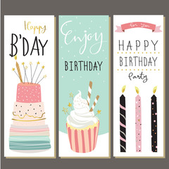 Colorful collection for banners,Flyers,Placards with cake,candle
