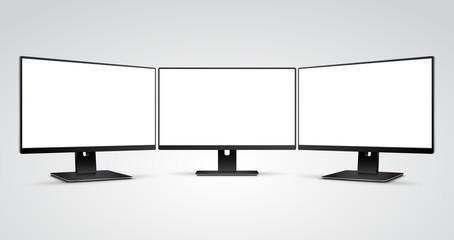 Three Computer Monitors with Ultra-thin display border with blank white screen Mockup Wall mural