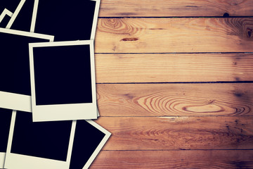 blank frame photo on wood background and texture with space