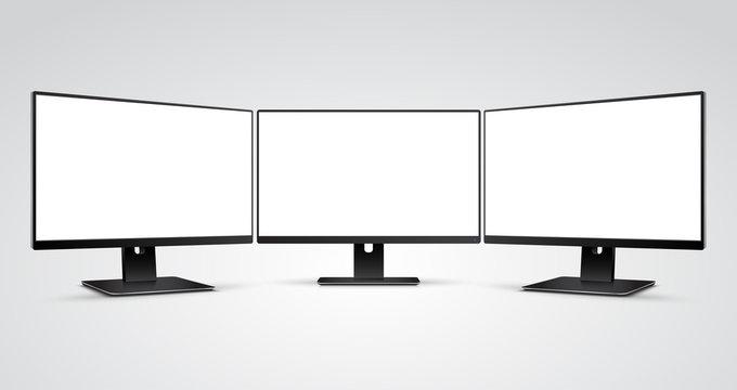 Three Computer Monitors with Ultra-thin display border with blank white screen Mockup