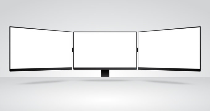 Three panels of Computer Monitors Mockup with white blank screen