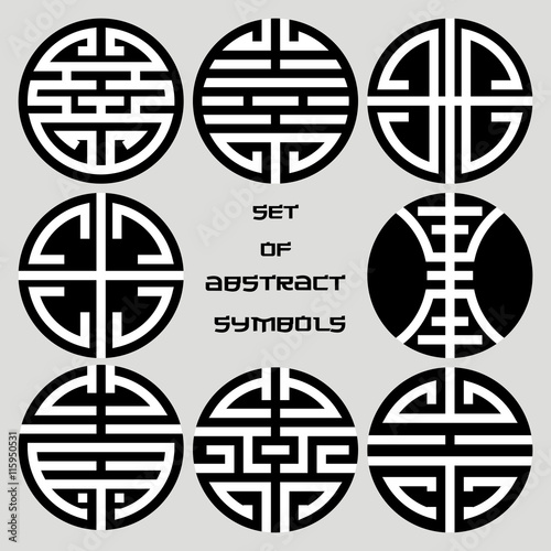 Set Of Chinese Circular Icons Monochrome Symbols Isolated On A Gray