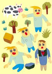Obraz funny characters 3 - fototapety do salonu