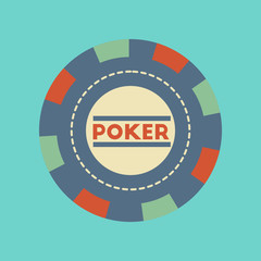 flat icon stylish background single poker chips