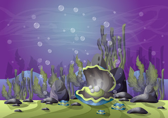 cartoon vector underwater landscape with separated layers for game and animation, game design asset