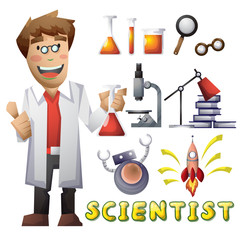 scientist vector cartoon with separated layers for game and animation, game design asset