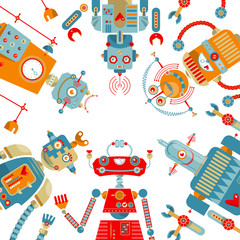 Robots of different shapes and multiple collors.