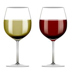 Два бокала красного вина и белого вина на белом изолированном фоне