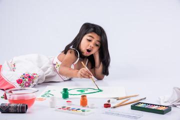 indian girl drawing, indian girl painting,asian girl colouring, paint brush and indian girl