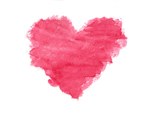 Grunge pink heart watercolor painting