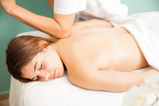 Woman getting a deep tissue  massage
