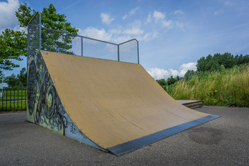 awesome halfpipe with graffitti