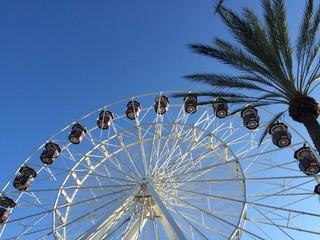 upward shot of ferris wheel