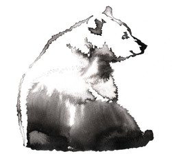 black and white painting with water and ink draw bear illustration